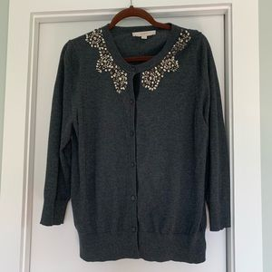 LOFT Gray Bejeweled Cardigan